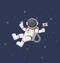 funny flying astronaut in space with stars around vector image