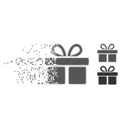Gift disappearing pixel halftone icon vector