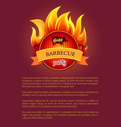 grill barbecue party poster burning fire grate vector image