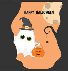 Halloween banner cute fllying ghost with pumpkin vector