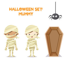 Hallowen set mummy concept vector