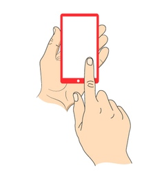 Hand touching smartphone with blank white screen vector image