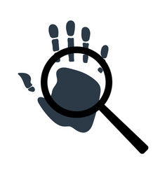 handprint with magnifying glass icon personal vector image