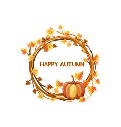 Happy autumn orange wreath vector