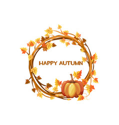 happy autumn orange wreath with vector image