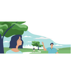 happy friends meeting in green park background vector image
