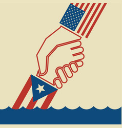 Hurricane relief for puerto rico helping hand vector