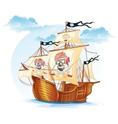 Image caravel ship pirates xv century vector