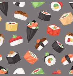 Japanese food sushi sashimi roll or nigiri vector