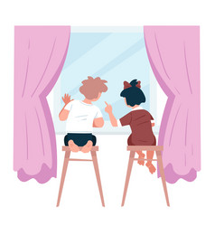 kids looking out window boy and girl vector image