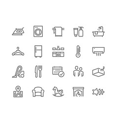 Line hotel icons vector