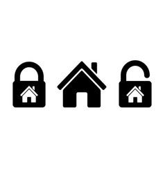 lock house icon residential house home with lock vector image