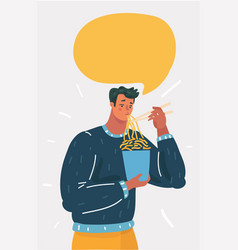 man eating instant noodle vector image