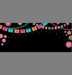 Mexican fiesta banner and poster design with flags vector