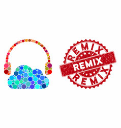 Mosaic listen cloud with textured remix seal vector