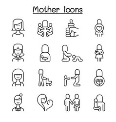 mother mom icon set in thin line style vector image
