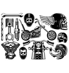 Motorcycle clipart with 12 elements on white vector