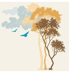 Nature background trees and clouds composition vector