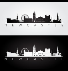 newcastle skyline and landmarks silhouette vector image