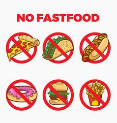 no fast food sign cartoon vector image