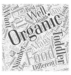 Organic Foods Great for Toddlers Word Cloud vector image