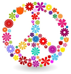Peace sign made of flowers vector
