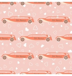 Pink seamless pattern with wedding car vector