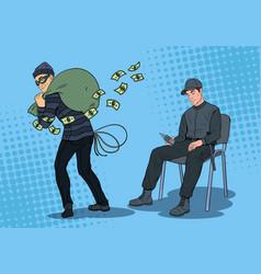 Pop art guard man sleeping thief stealing money vector