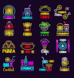 Products neon fast food lighting emblem for vector