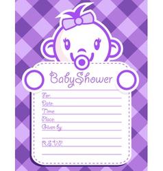 Purple Baby Girl Invitation vector