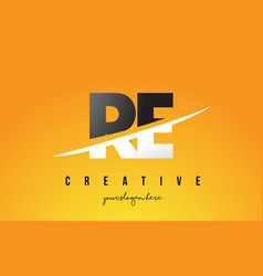 Re r e letter modern logo design with yellow vector