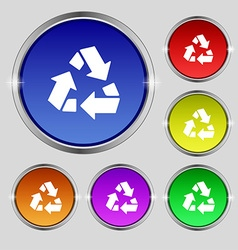 Recycle icon sign Round symbol on bright colourful vector image
