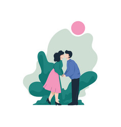 romantic couple holding hands and kissing on vector image