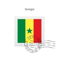Senegal Flag Postage Stamp vector image