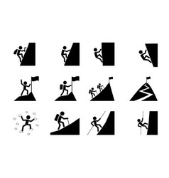 Set hiking and climbing icon art vector