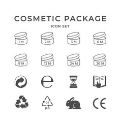 set icons cosmetic package vector image