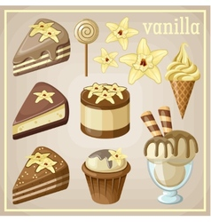 Set of sweets vanilla vector image