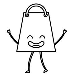 Shopping bag kawaii character vector