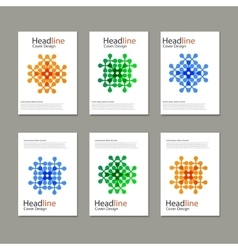 Six pattern with abstract figures brochures vector image