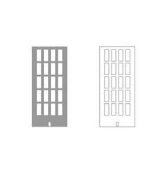sky tower building grey set icon vector image