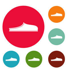 slippers icons circle set vector image