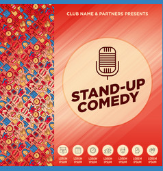 Stand up comedy show concept with thin line icons vector