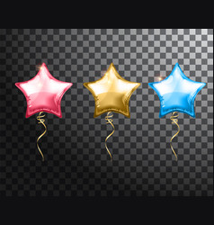 Star balloon colorful set on transparent vector