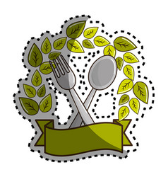sticker fork and spoon kitchen tools with leaves vector image