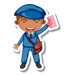 sticker template with a postman cartoon character vector image