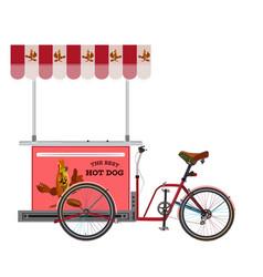 Street hot dog bike flat vector