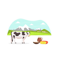 Summer rural mountain landscape and grazing cow vector