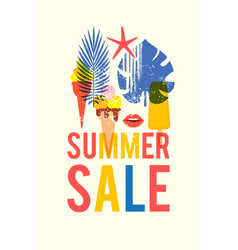 summer sale poster template with silk-screen vector image