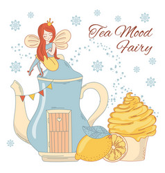 tea mood fairy merry christmas vector image
