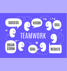 team people with different shapes speech bubble vector image
